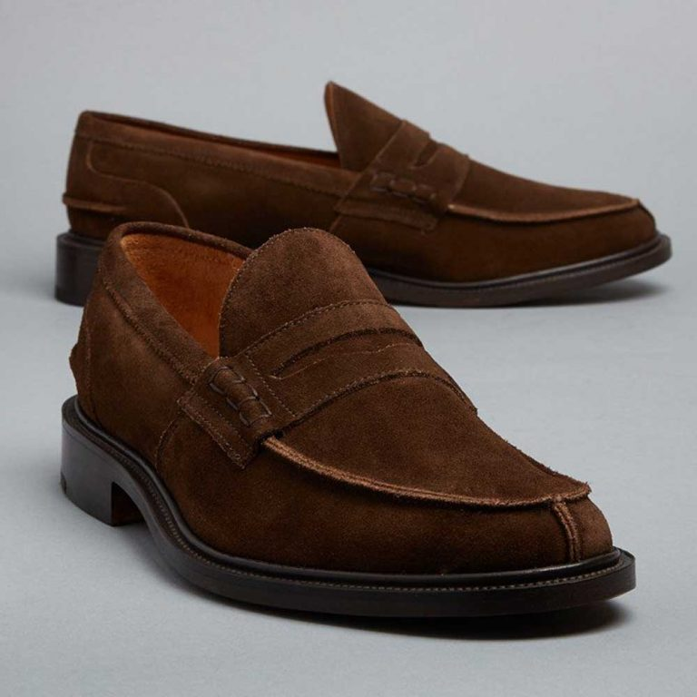 Tricker's James Penny Loafers - Chocolate Suede