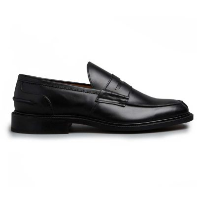 Tricker's James Penny Loafers - Leather Sole Black Calf