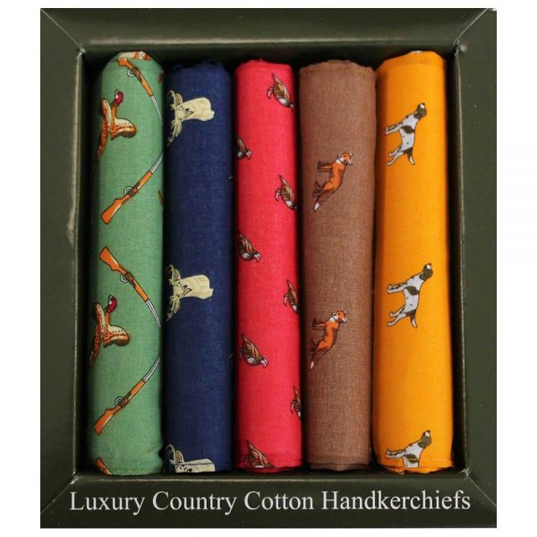 Soprano - 5 Cotton Hankies Gift Set - Country Themed