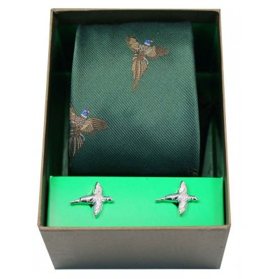 Soprano - Tie & Cufflink Gift Set - Flying Pheasants On Forest Green