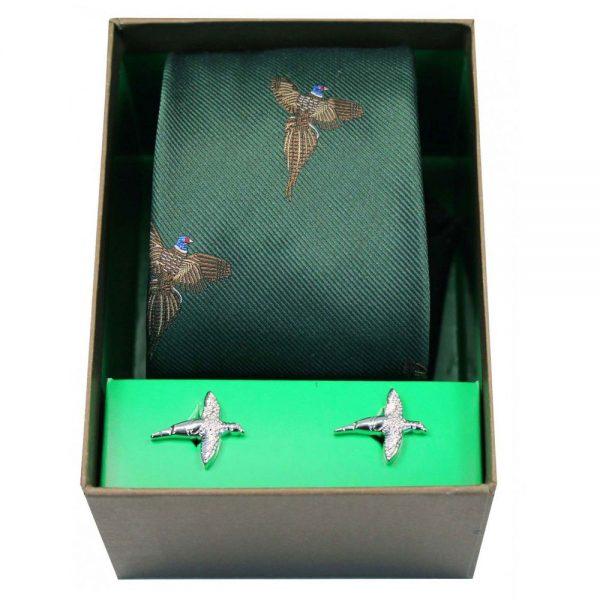 Soprano - Tie & Cufflink Gift Set - Flying Pheasants On Forest Green