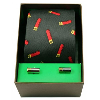 Soprano - Tie & Cufflink Gift Set - Gun Cartridges On Green