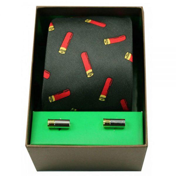 Soprano - Tie & Cufflink Gift Set - Gun Cartridges On Green
