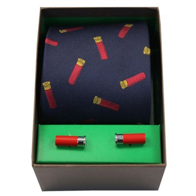 Soprano - Tie & Cufflink Gift Set - Gun Cartridges On Navy