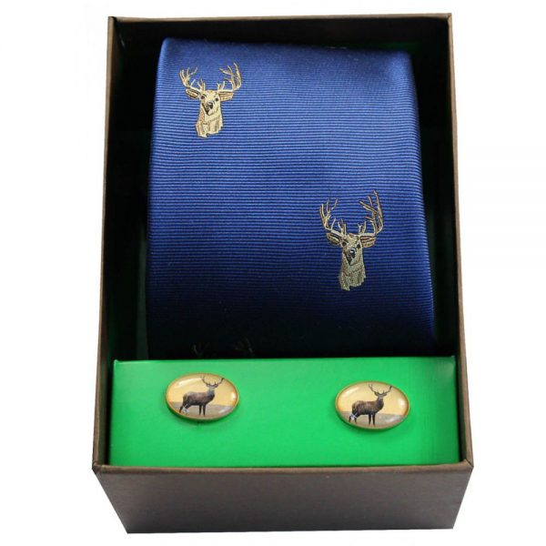 Soprano - Tie & Cufflink Gift Set - Stags Head On Royal Blue