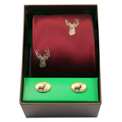 Soprano - Tie & Cufflink Gift Set - Stags Head On Wine