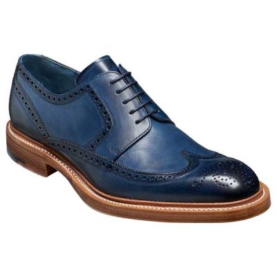 BARKER Bailey Shoes - Mens Derby Brogues - Navy Hand Painted