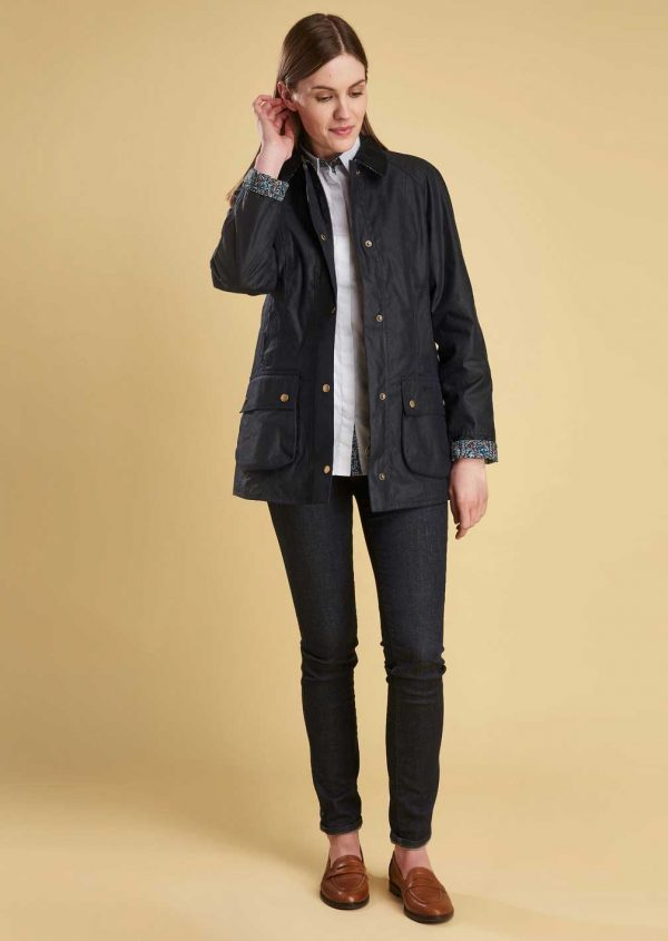 Barbour Ladies Abbey Navy Wax Jacket with Liberty Print