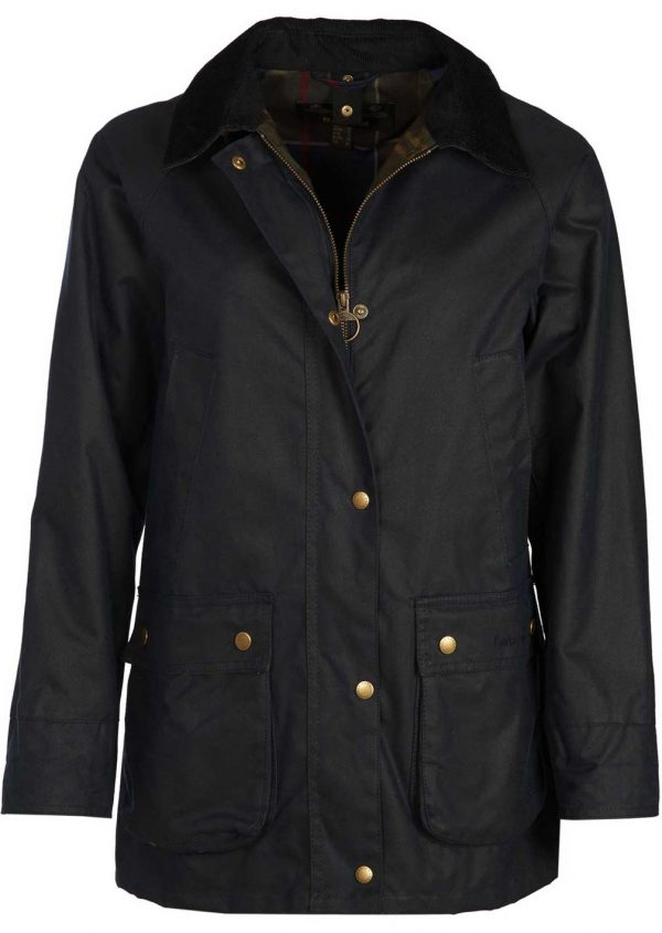 Barbour Ladies Acorn Navy Wax Jacket with Tartan lining