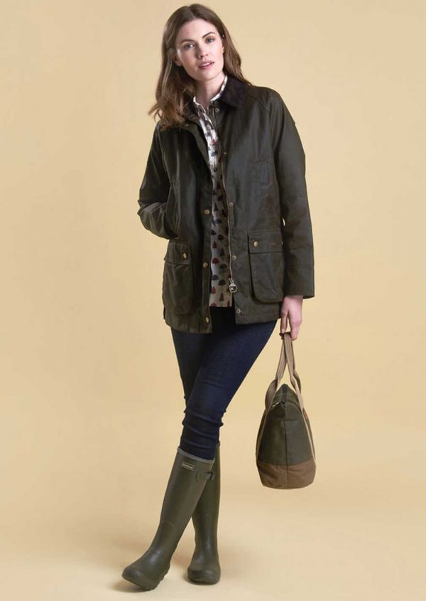 Barbour Ladies Acorn Olive Wax Jacket with Tartan lining