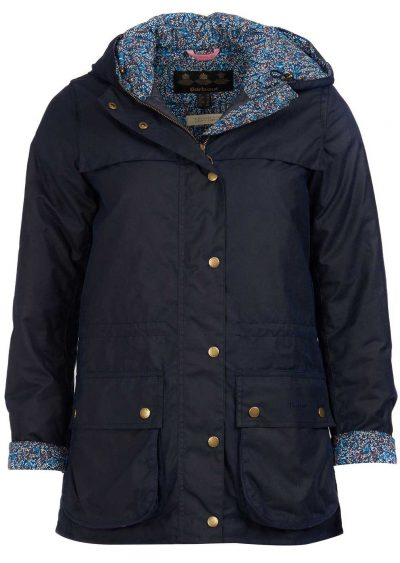 Barbour Ladies Blaise Navy Wax Jacket with Liberty Print