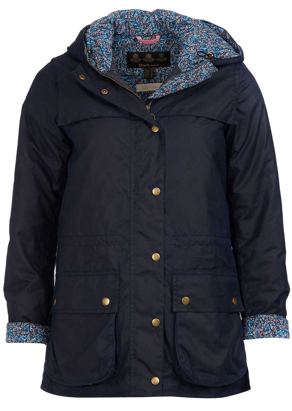 Barbour Ladies Blaise Navy Waxed Cotton Jacket With