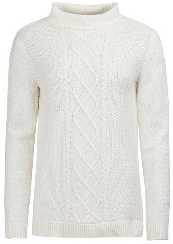 Barbour Ladies Leith Roll Collar Jumper Off White