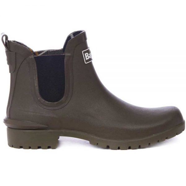 Barbour Ladies Wilton Chelsea Boot Style Wellingtons - Olive
