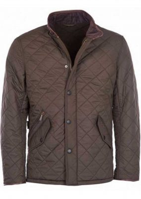 Barbour - Mens Powell Quilted Jacket with Fleece Lining - Olive