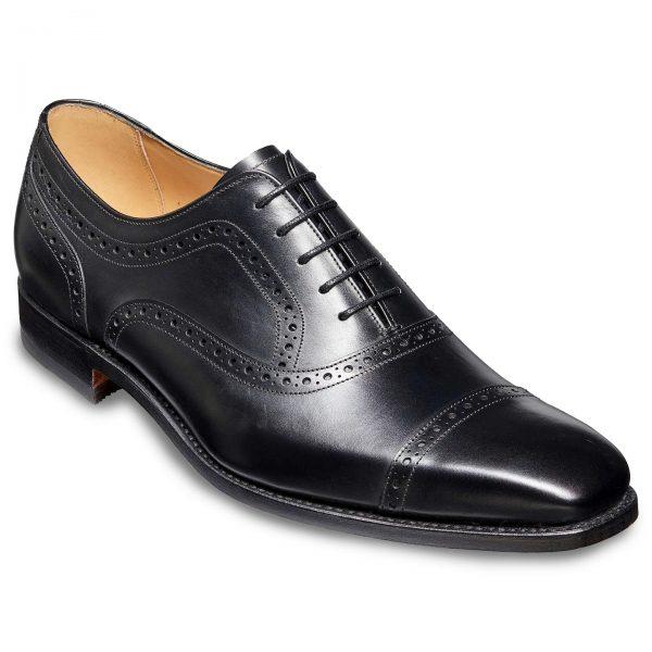 Barker Luke Semi Brogue Shoes - Black Calf