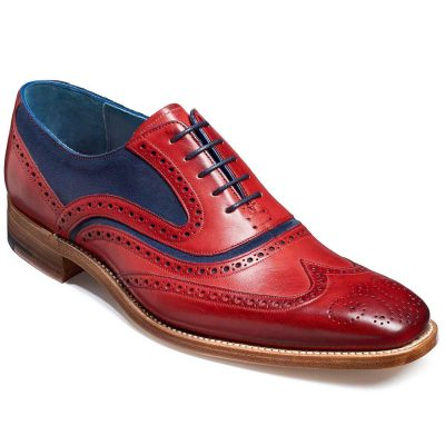 Barker Shoes - Mens McClean Brogues - Red Hand Painted & Navy Suede