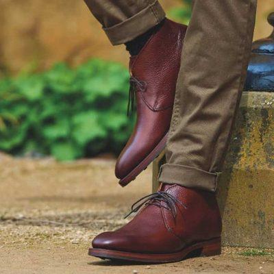 Barker Orkney Chukka Boots Dainite Sole - Cherry Grain