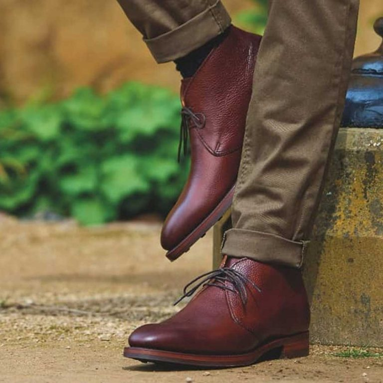 Barker Orkney Chukka Boots Dainite Sole - Cherry Grain