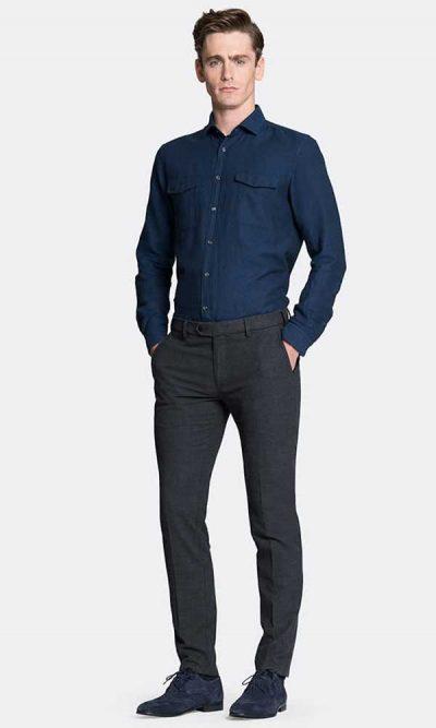 MMX Lupus Chinos Men's Super-Stretch Wool Look - Grey