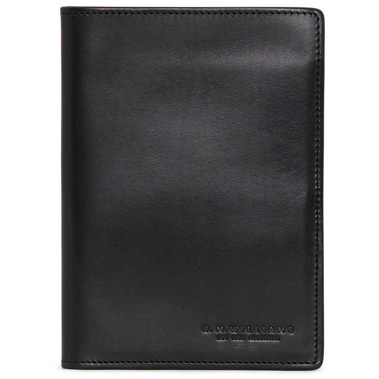 RM Williams Leather Passport Cover - Black