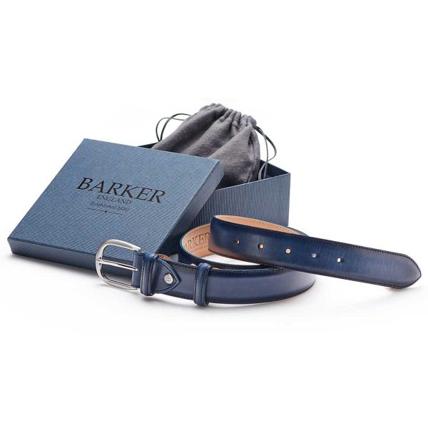 Barker Leather Plain Belt - Navy Hand Painted