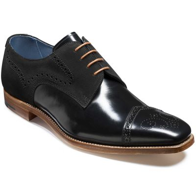 Barker Luca Derby Shoes - Black Hi-Shine & Suede