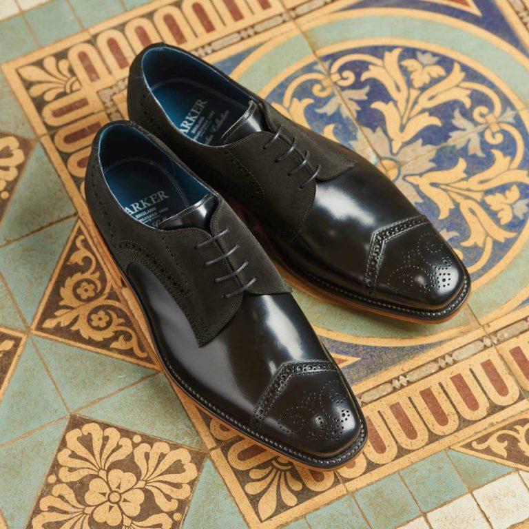 Barker Luca Derby Shoes - Black Hi-Shine & Suede