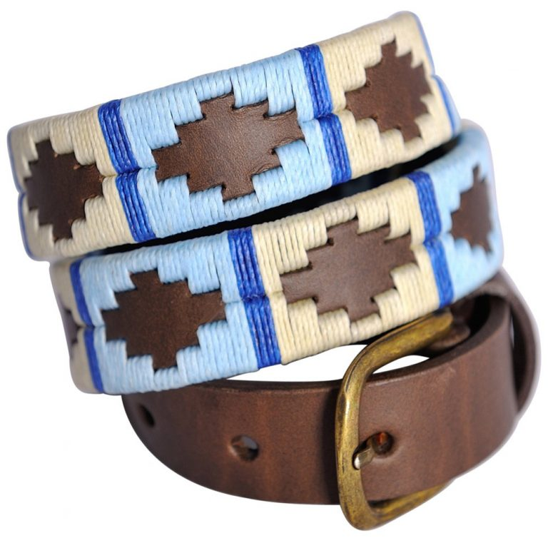 Pioneros Narrow Argentinian Polo Belt - 159 Pale Blue/White with Blue Stripe