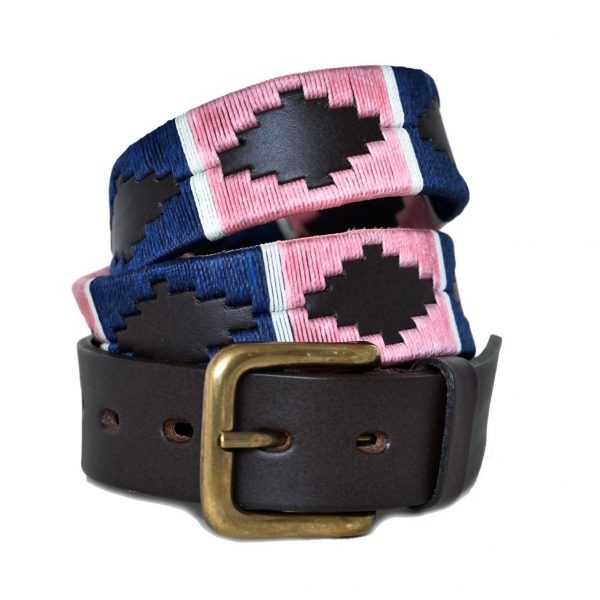 Pioneros Wide Argentinian Polo Belt - 110 Pink/Navy with White Stripe