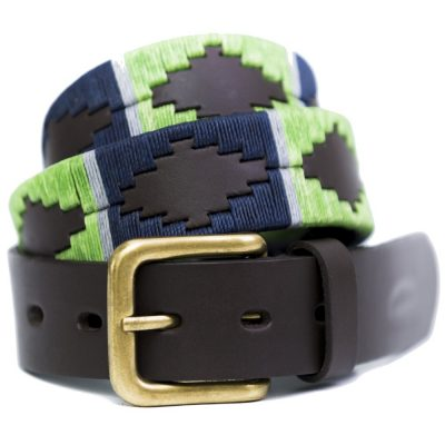 Pioneros - Argentinian Polo Belt 112 Lime/Navy With Grey Stripe