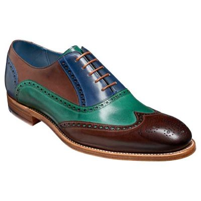 BARKER-Valiant-Shoes-–-Mens-Brogues-–-Ebony,-Green-&-Blue-Hand-Painted