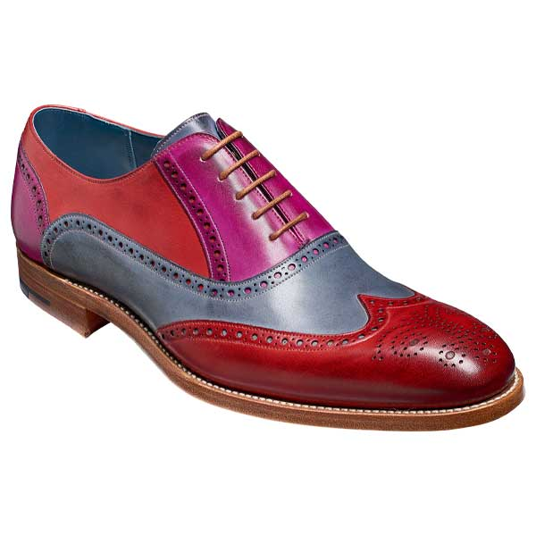 BARKER-Valiant-Shoes-–-Mens-Brogues-–-Red,-Grey-&-Purple-Hand-Painted