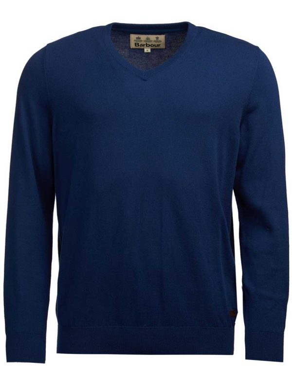 BARBOUR Jumper - Mens Alfreton Cotton V Neck - Blue