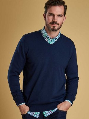 BARBOUR Jumper - Mens Alfreton Cotton V Neck - Blue