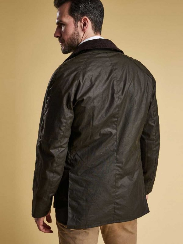 BARBOUR Wax Jacket - Mens Ashby 6oz Sylkoil Tailored Fit - Olive