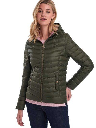 BARBOUR Jacket - Ladies Highgate Hooded Quilted Baffle - Olive