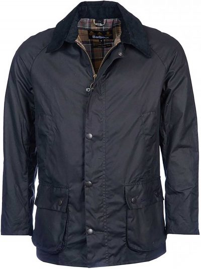 BARBOUR Wax Jacket - Mens Ashby 6oz Sylkoil Tailored Fit - Navy
