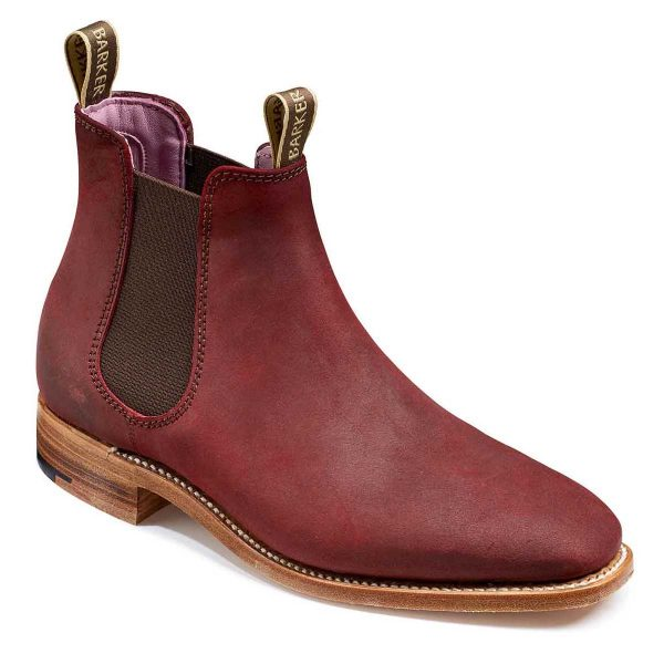 Barker Gina Ladies Chelsea Boots - Plum Waxy Suede