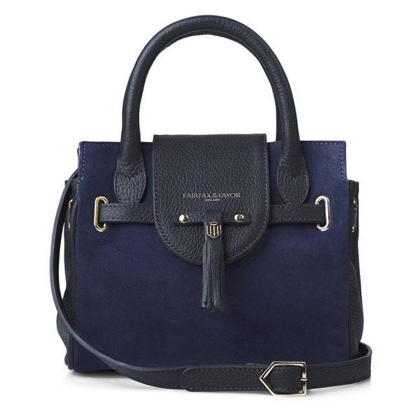 Fairfax & Favor Mini Windsor Handbag - Navy Suede