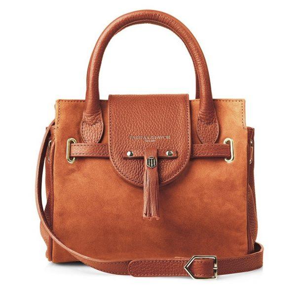 Fairfax & Favor Mini Windsor Handbag - Tangerine Suede