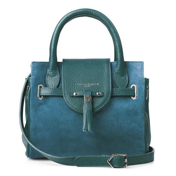 Fairfax & Favor Mini Windsor Handbag - Teal Suede