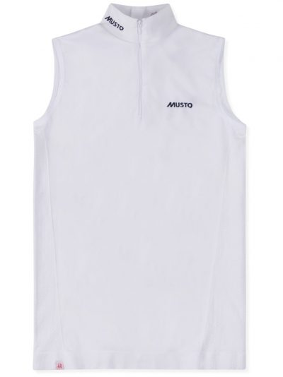 MUSTO Equestrian Shirt - Ladies Performance Sleeveless Stock Shirt - White