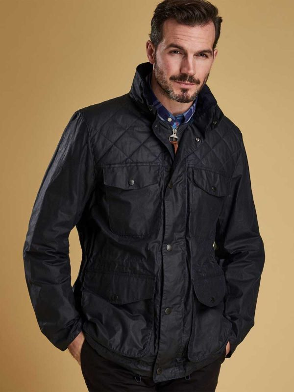 BARBOUR Wax Jacket - Mens Clapham - Royal Navy