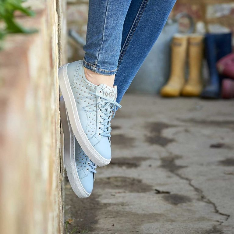 Barker Shoes - Ladies Isla Sneakers - Pale Blue Calf with Metal Studs