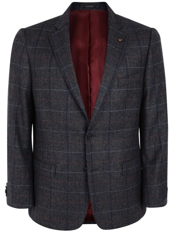 MAGEE Donegal Tweed Jacket - Mens Nice Classic Fit - Grey Check