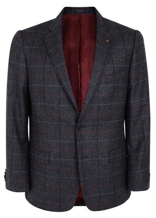 MAGEE Tweed Jacket - Mens Classic Fit - Donegal Tweed Grey Check