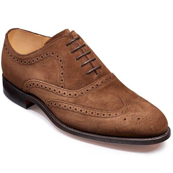 Barker Hampstead Brogue Oxford Shoes - Castagnia Suede