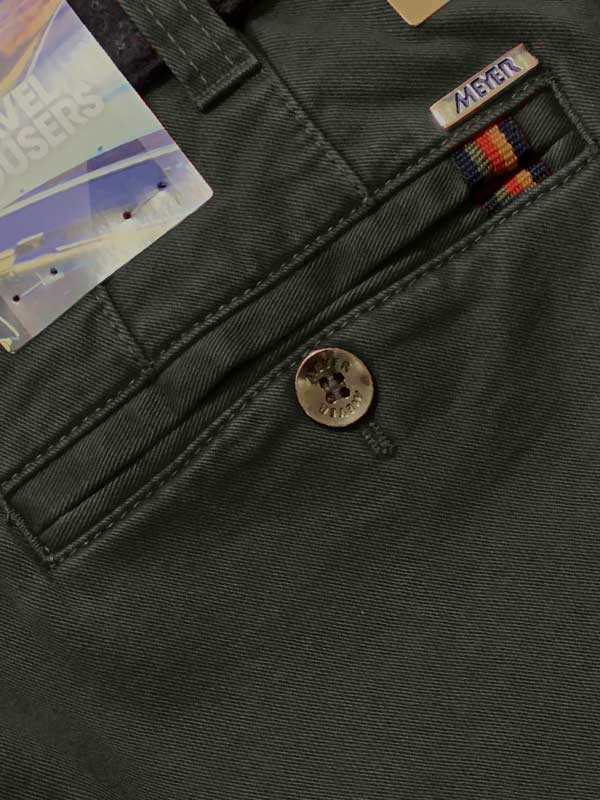 MEYER Chinos - Oslo Double Dyed Cotton - Expandable Waist - Green - Back Pocket