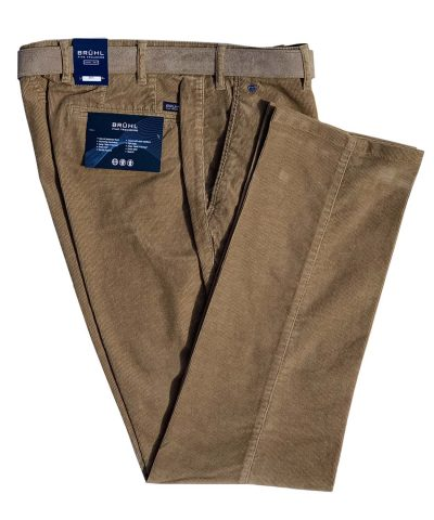 BRUHL Cords - Parma B Cotton Fine Corduroy Trousers - Sand